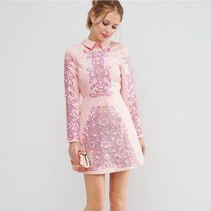 ASOS Pink Salon Mini A Line Dress